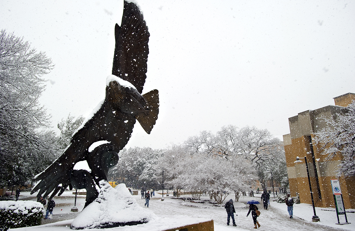 Eagle statue on campus during a snow day.